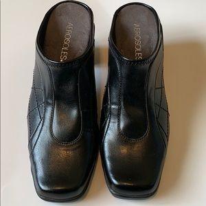 Aerosoles Black Slip In Clog Mules heels Size 7.5